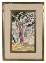 Bay Area Oak Grove in Watercolor, Circa 1950