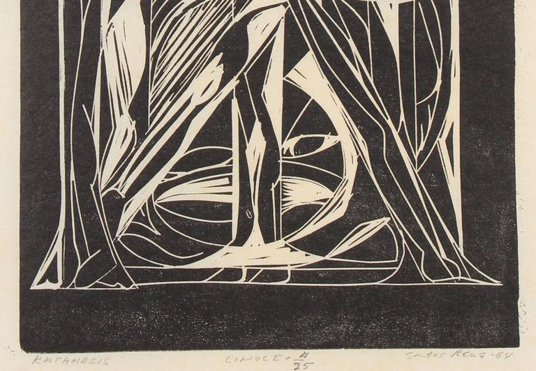 """""""Katharsis"""" Puerto Rican Linocut, Mid-Century 2"""