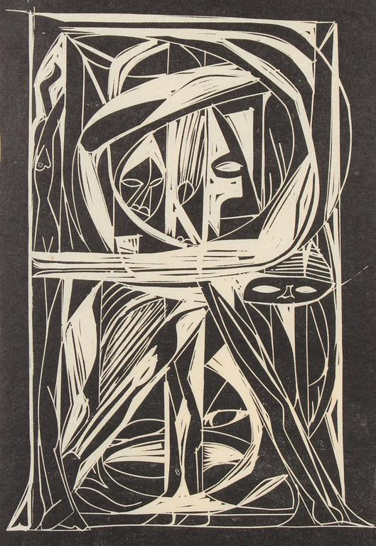 """""""Katharsis"""" Puerto Rican Linocut, Mid-Century 3"""