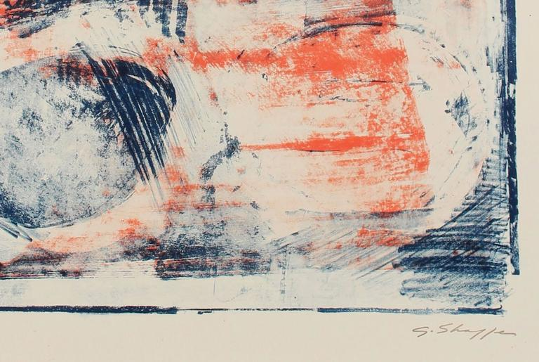 Abstract Expressionist Lithograph in Orange and Blue - Print by Gary Lee Shaffer