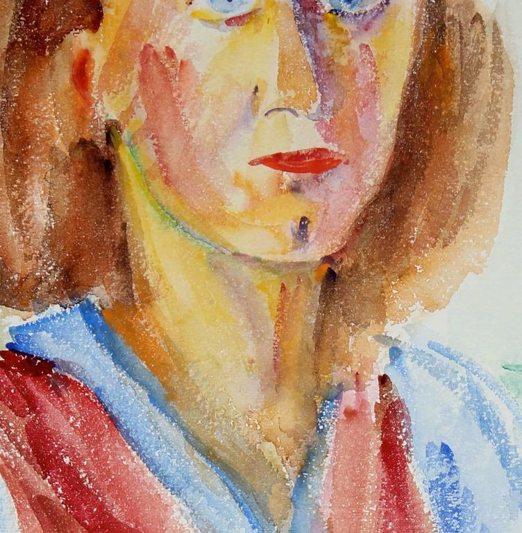 This mid 20th century watercolor on paper portrait of a woman with blue eyes is by Polish-born New York artist Jennings Tofel (1891-1959). Tofel was a friend of Georgia O'Keefe and Alfred Stieglitz. He received an art grant to work in Paris in the