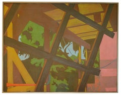 Large Abstracted Patio Scene, Oil on Canvas Painting, Late 20th Century