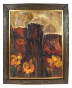 """Desert Bloom"" Textured Landscape Painting, Circa 1960s"