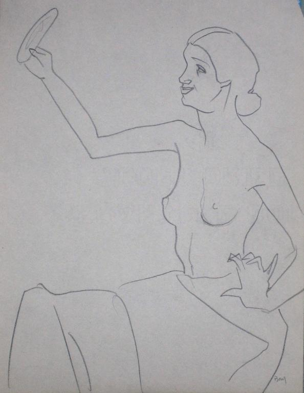 Seated Figure with Mirror, Graphite on Paper, Circa 1930s 2