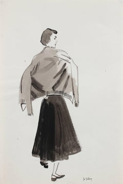 Mid Century Fashion Illustration in Gouache, Circa 1950