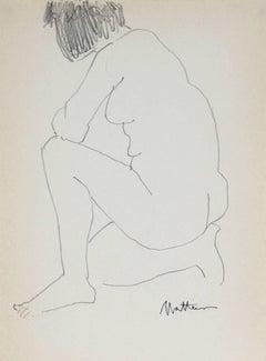 Kneeling Nude in Graphite, 1989