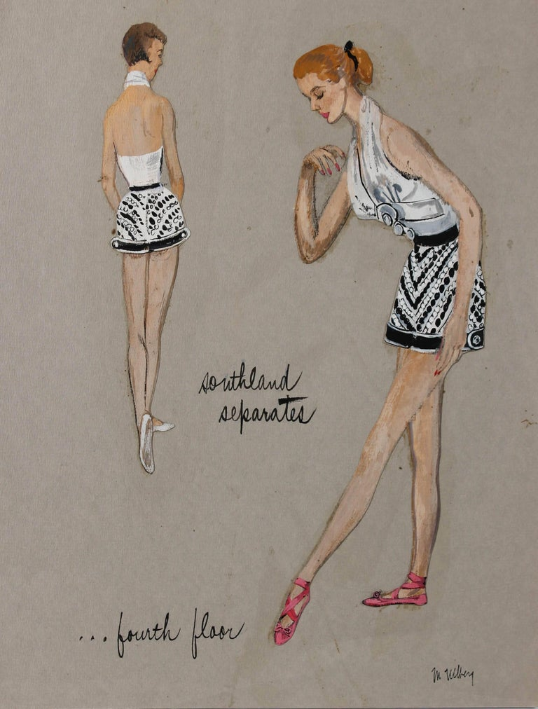 Mid Century Fashion Illustration in Gouache
