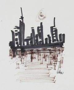 Modernist City Skyline in Monochromatic Ink, 1960s