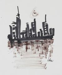 Modernist City Skyline in Monochromatic Ink, 1960s