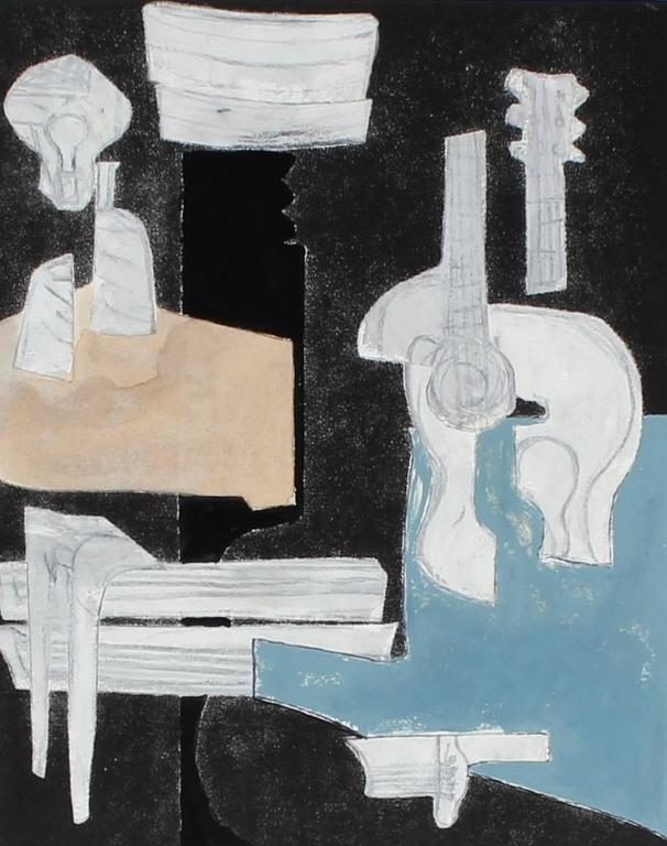 """""""Still Life with Guitar"""" Mixed Media Cubist Abstract in Gouache, 2014"""