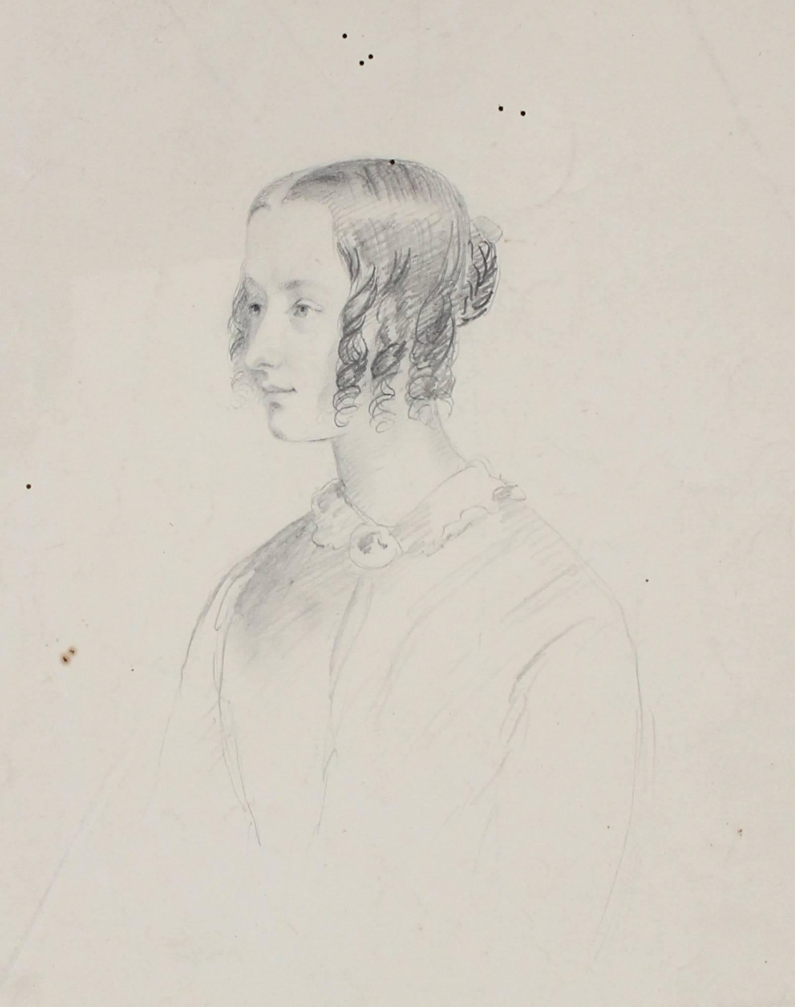 Graphite Portrait of a Woman, Early 1800s