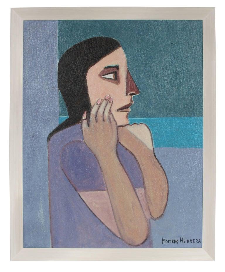Homero Herrera Portrait Painting - Modernist Female Portrait, Mid Century Oil