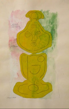 Abstracted Totemic Figure in Gouache with Mustard Yellow Green Pink