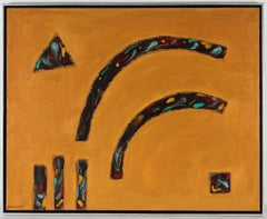 """""""Shadows"""" Geometric Abstract Painting with Gold and Brown, Late 20th Century"""