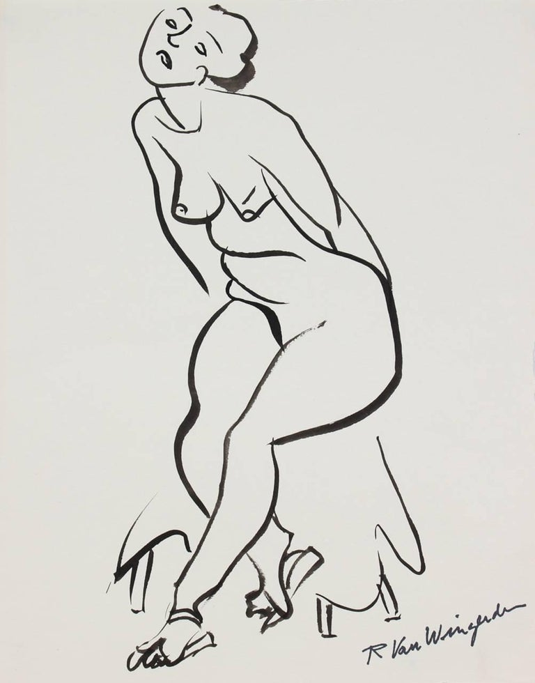 Expressionist Figure in Ink, Mid-Century Drawing
