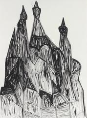 """Russian Churches in St. Petersburg"" Charcoal and Ink Cityscape, 20th Century"