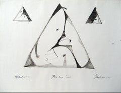 Modernist Triangle Abstract in Ink, Circa 1960s