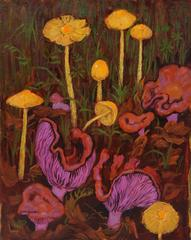 """Bolbitius Vitellinus and Lepista"" Mushroom Still Life Oil Painting"