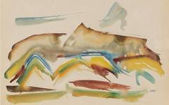 Framed Modernist Landscape in Watercolor, Mid Century