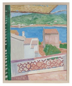 Villa on the Coast, Oil on Canvas Landscape Painting, 20th Century