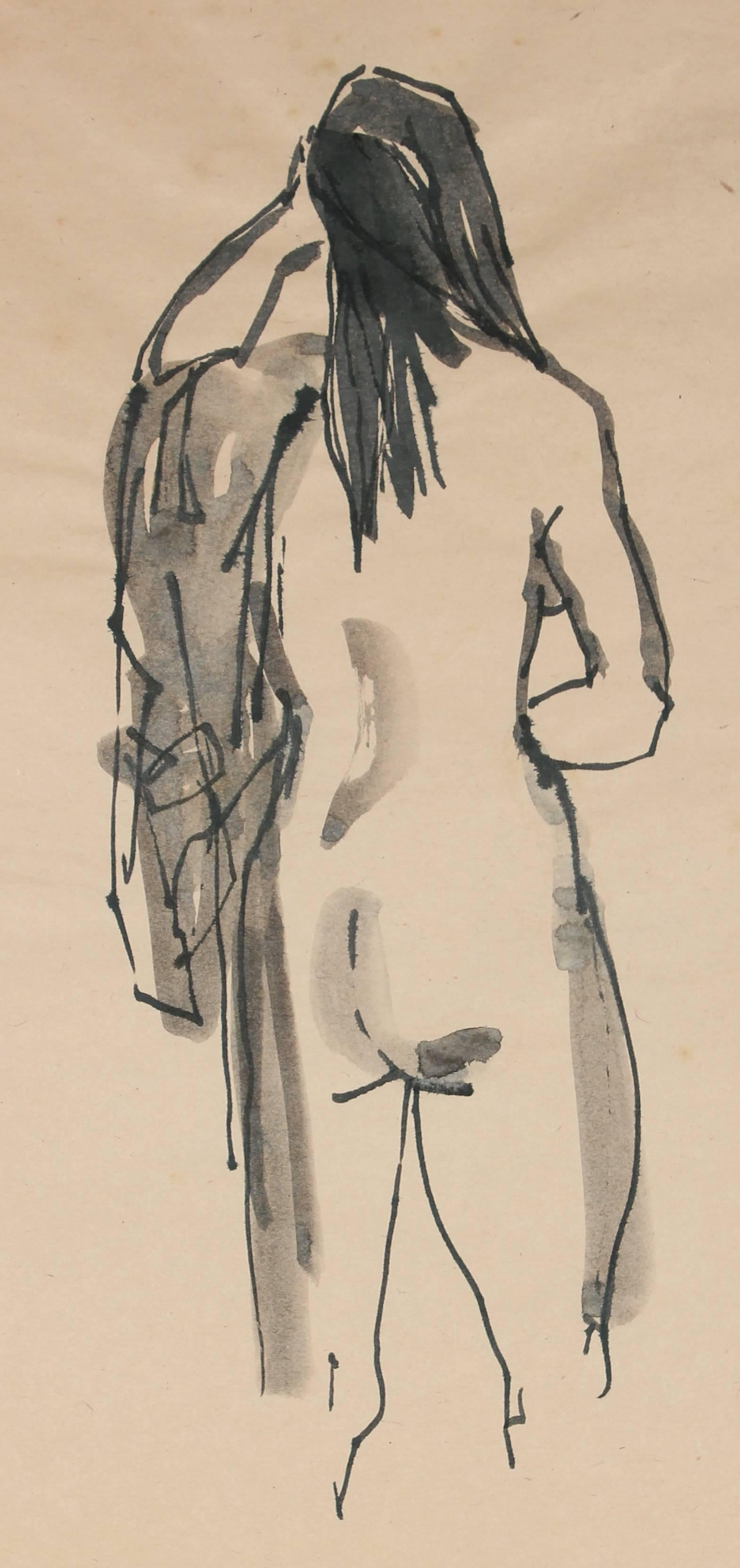 Standing Nude with Coat, Ink Drawing, 20th Century