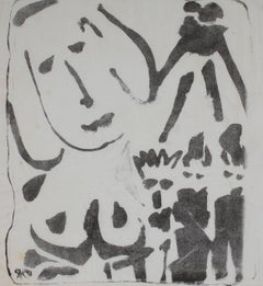 Monochromatic Modernist Abstracted Nude Figures in Ink, Mid 20th Century