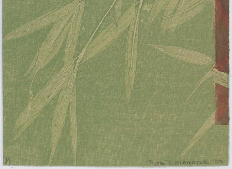 Contemporary Minimalist Bamboo Monotype in Green, Asian Aesthetic, 2009 - Print by Rob Delamater