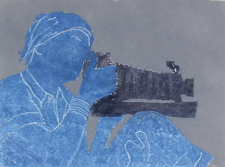 """Dorothea Lange with Camera"", Monotype in Blue, 2015"