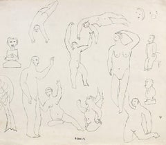 """Romance"" Expressionist Figures in Ink, Early 20th Century"