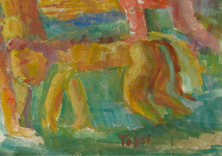Expressionist Figures with a Lion, Watercolor on Paper, Mid 20th Century - Brown Figurative Art by Jennings Tofel