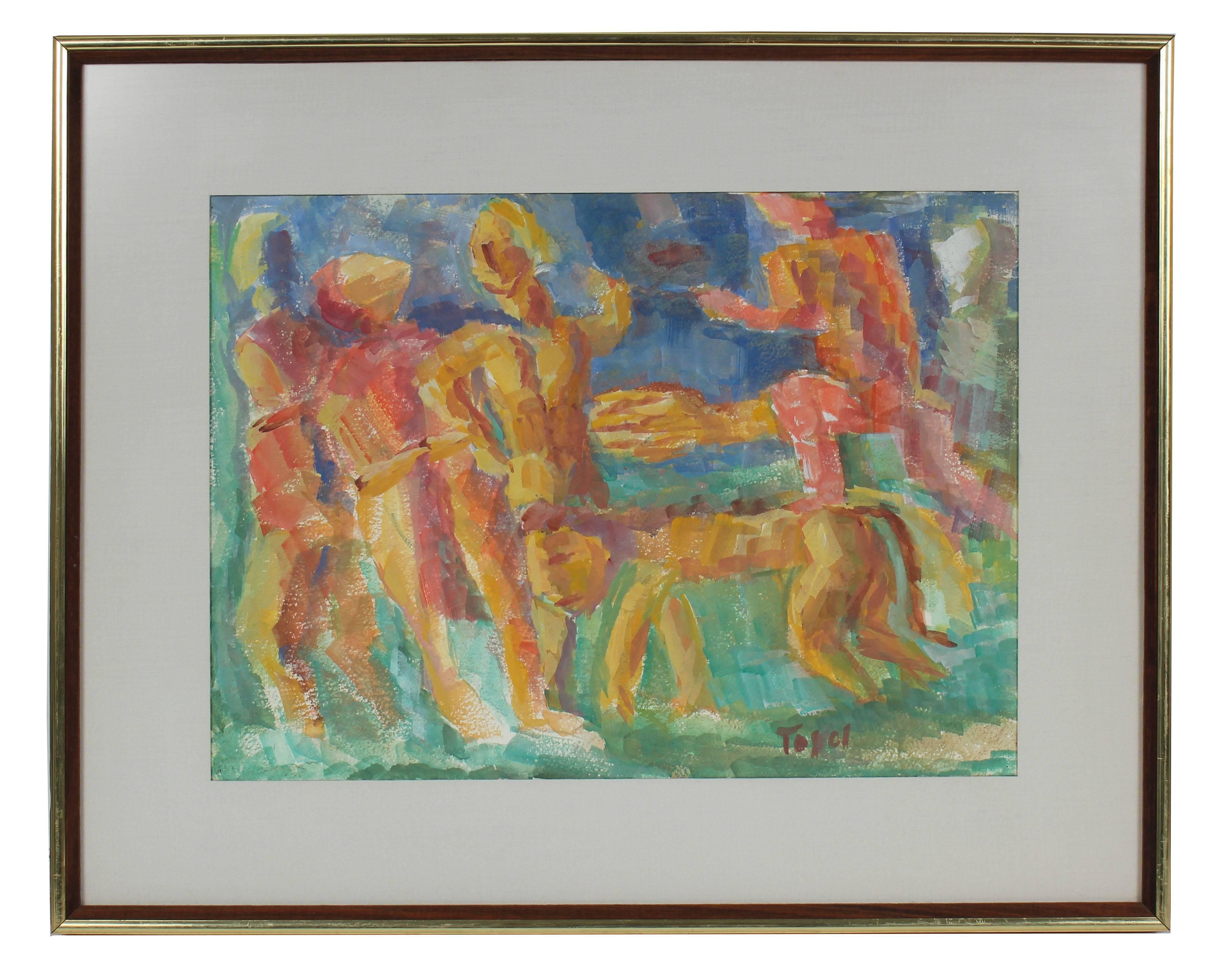 Expressionist Figures with a Lion, Watercolor on Paper, Mid 20th Century