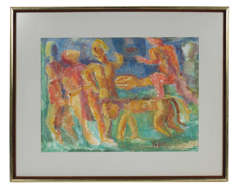 Jennings Tofel Figurative Art - Expressionist Figures with a Lion, Watercolor on Paper, Mid 20th Century