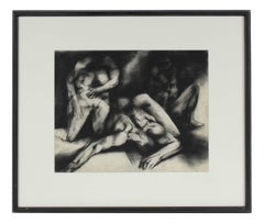 Monochromatic Expressionist Figures, Framed Charcoal Drawing, 1965