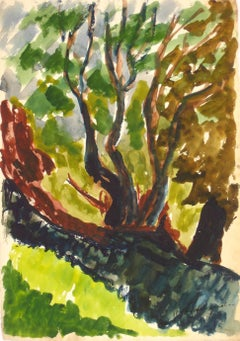 Expressionist Bay Area Landscape in Watercolor, Mid Century