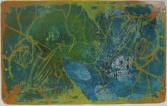 Modernist Abstract Lithograph in Blue and Green, Mid Century