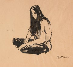 Seated Hippie Woman, Ink on Paper Portrait, Circa 1970s
