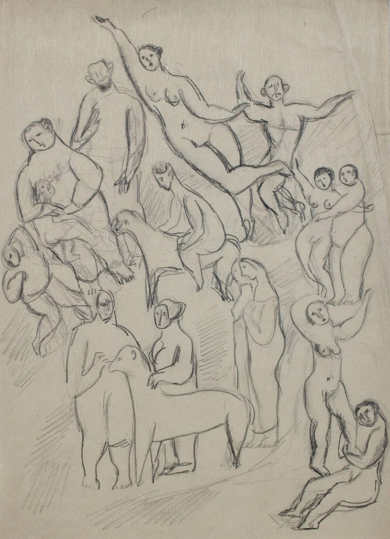 Expressionist Figures and Animals, Graphite Drawing, Early 20th Century