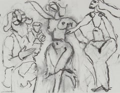 Three Abstracted Figures in Charcoal, 20th Century Drawing