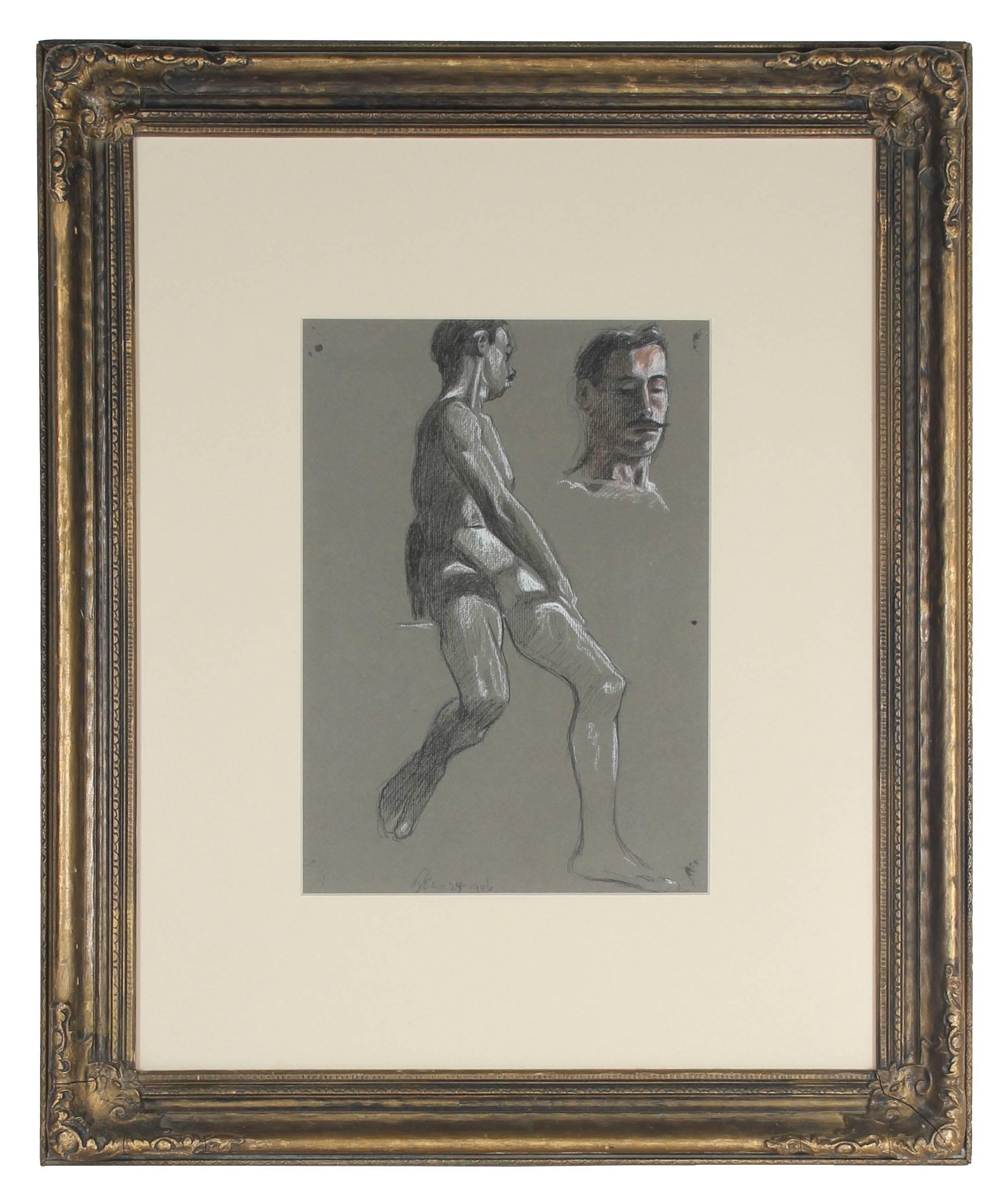 Parisian Male Figure Study in Charcoal and Pastel, 1906