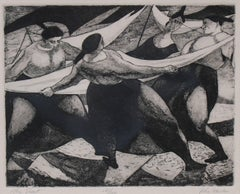 """The Sheet"", Figurative Etching, Mid 20th Century"