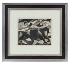 """The Sheet"", Monochromatic Figurative Etching, Mid 20th Century"
