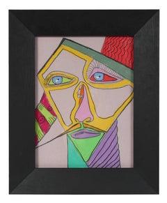 Surrealist Portrait, Pastel and Graphite, 20th Century