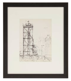 New York Industrial Scene, Ink on Paper Drawing, Mid 20th Century