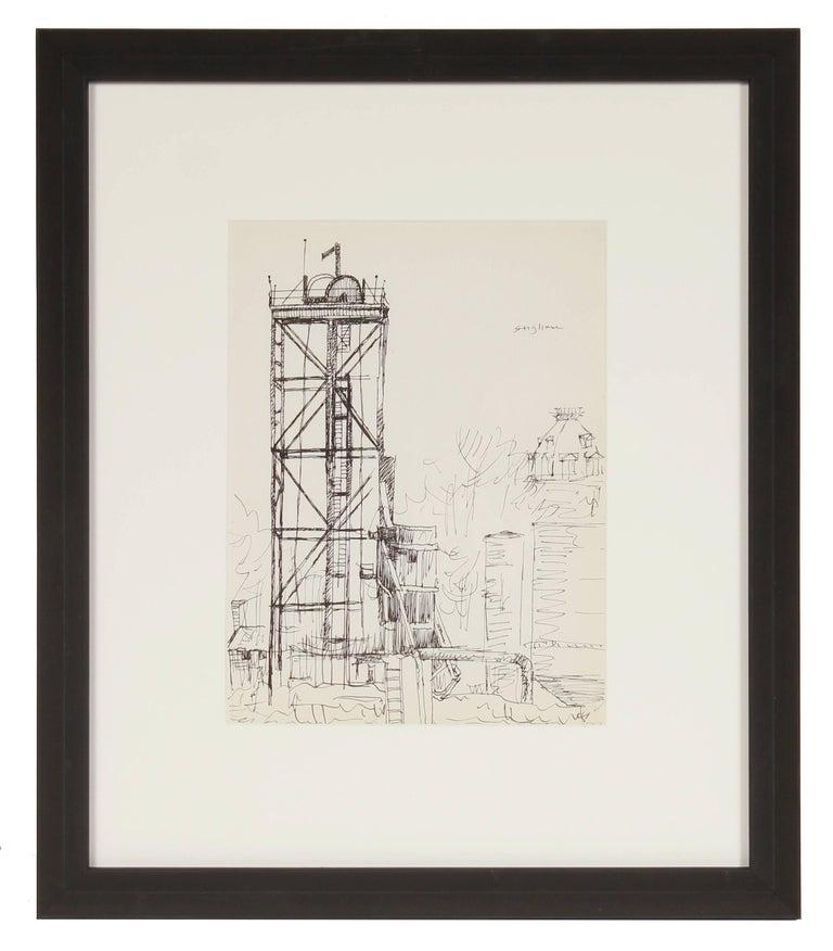 New York Industrial Scene, Ink on Paper, Mid Century