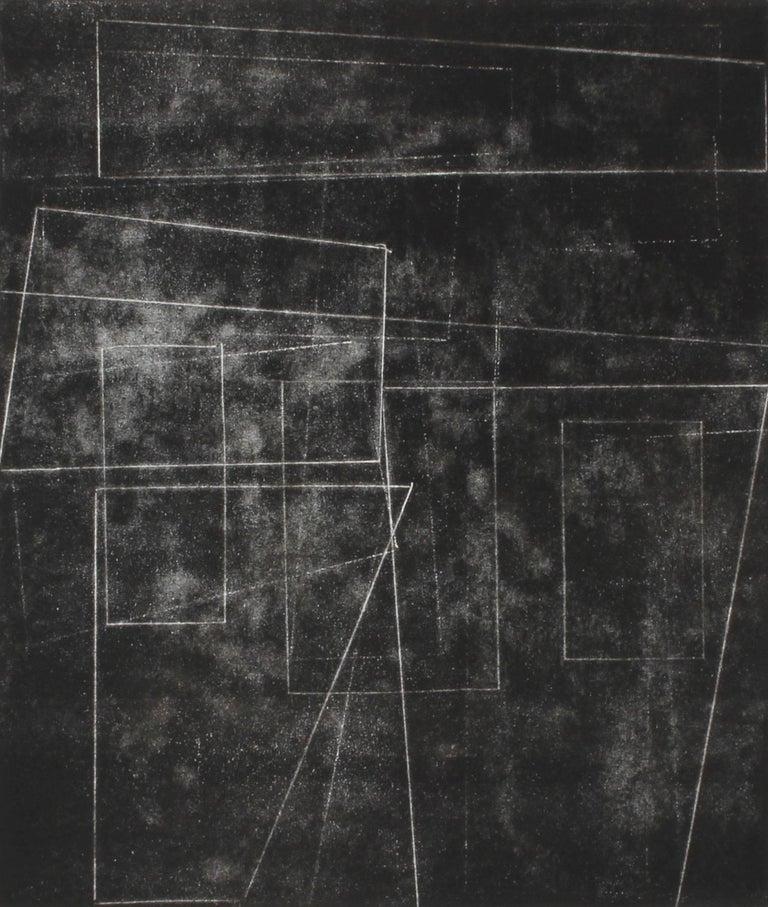 """The Machine Age II"" Black and White Monotype Print, 2014"