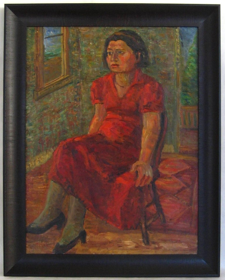 "Jennings Tofel Portrait Painting - ""Portrait of Pearl"" Expressionist Portrait in Oil, 1935"