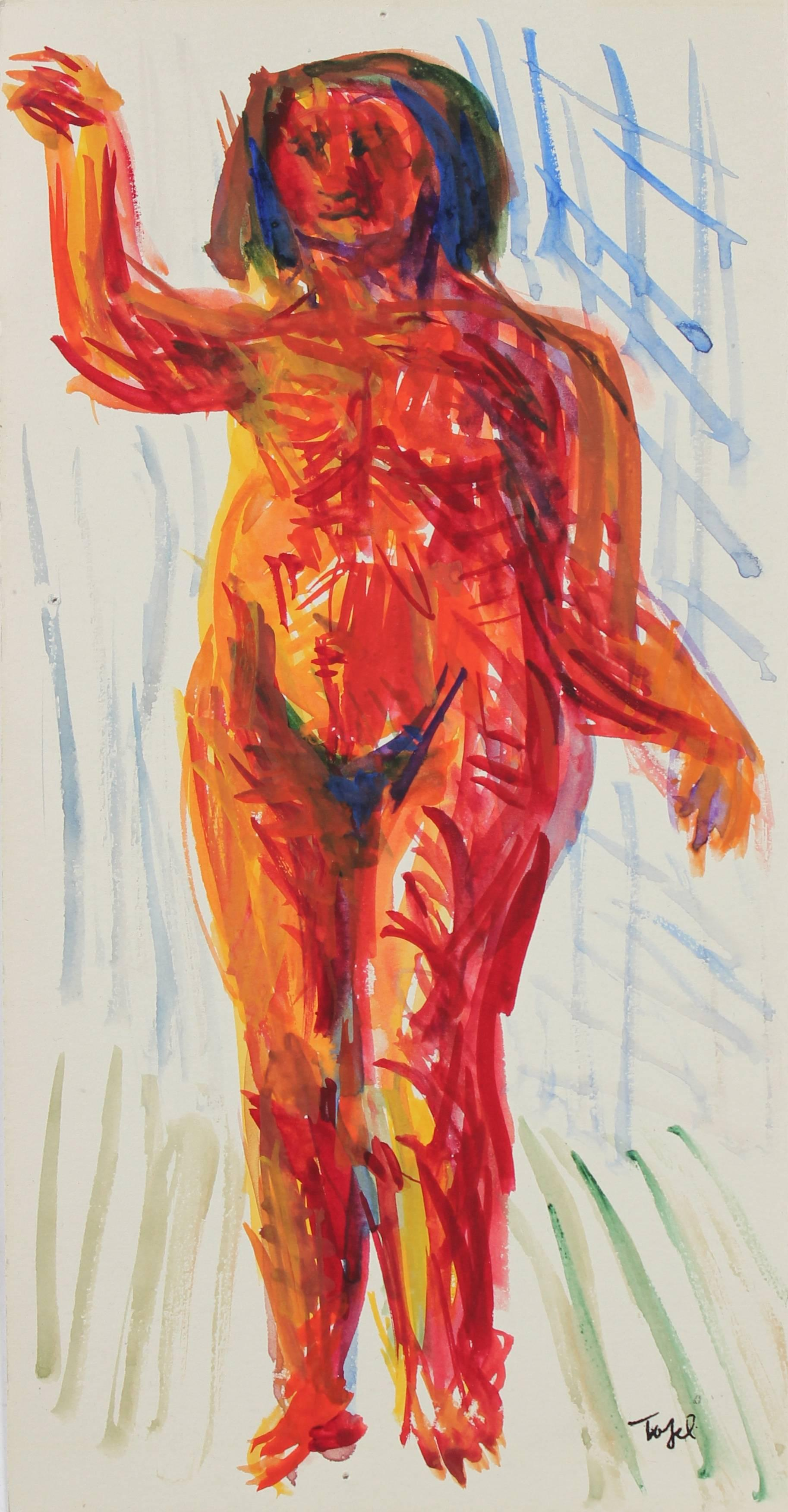 Expressionist Nude in Watercolor, Early 20th Century