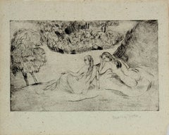 Figures in the Grass, Framed Secessionist Etching, Circa 1920s