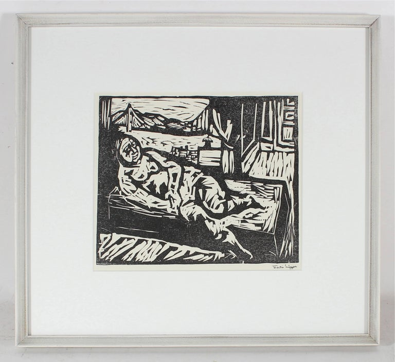 Figure by the San Francisco Bay, Framed Mid Century Linocut - Print by Martin Snipper