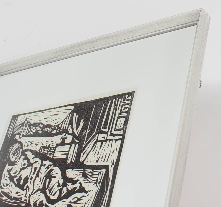 Figure by the San Francisco Bay, Framed Mid Century Linocut - American Modern Print by Martin Snipper